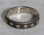 "Vintage Sterling Silver Band Encircled with Stars or ""Starrs"" Poesy Ring"