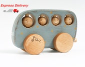 EXPRESS DELIVERY Personalized Wooden Toy Bus, Kids Toy, Blue Wooden School Bus