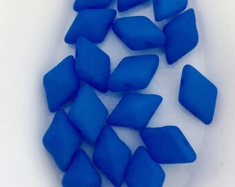 DiamonDuo Beads Mykonos Blue Matte 8.5 Grams Diamond Duo 5X8mm Czech Two Holed Bead Faceted Gem Shaped 2 Hole Bead Diamond Shaped Superduo