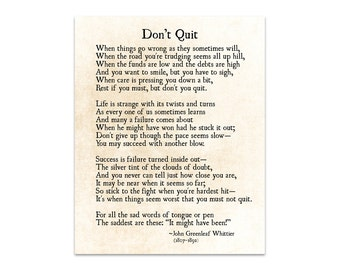 Don't Quit Poem, John Greenleaf Whittier Quote, Inspirational Quote, Word Art Print, Book Art Print, Literary Large Wall Art, Fine Art Print