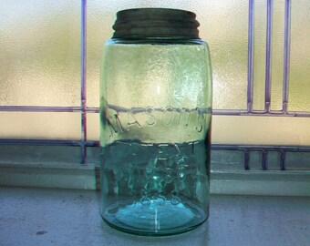 Antique Blue Mason Jar Quart Mason's Patent Nov 30th 1858