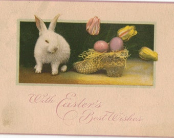 Vintage Easter Postcard, Bunny with Easter Eggs and Tulips in a Shoe, ca 1910