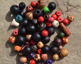 Too many beads! Odd lot mix only 2.00 for 100 grams mostly wood