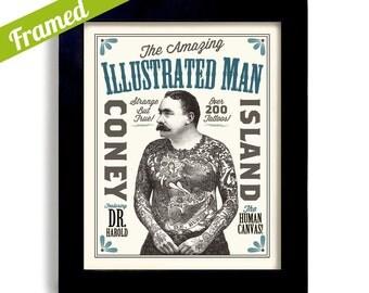 Tattoo Art, Illustrated Ink, Carnival Art Tattoo Parlor Framed Art Sideshow Poster Circus Art Bar Sign Coney Island
