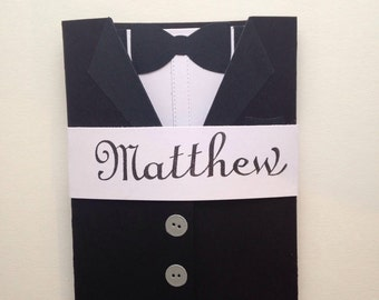 Ring bearer card will you be our ring bearer? Suit card for wedding classic black and white