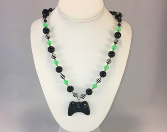 Gamer Girl Xbox Controller Resin Necklace-Classic Black