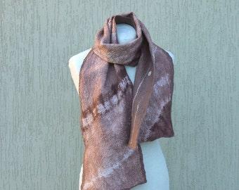 Light brown wool silk shibori dyed nuno felted scarf Felt scarf