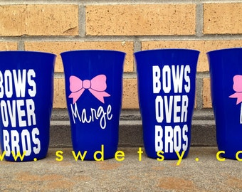Personalized Bachelorette Party Cups - Set of 4 - Bows over Bros, Girls Weekend, Bridesmaids, Wedding