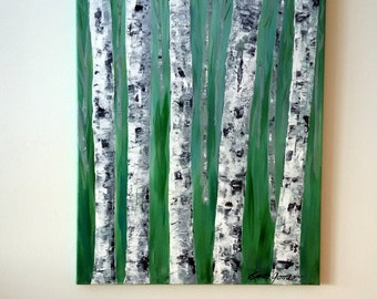"""BIRCH TREE PAINTING- White Birch Trees, Original Acrylic Abstract Painting, 16"""" x 20"""" Wrapped Canvas, Teal Green, Nature Wall Art"""