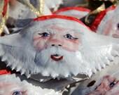Christmas ornament hand-painted coastal decor Santa Claus blue crab shell