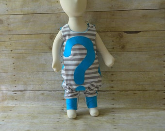 CLEARANCE - NB Gender Neutral Harem Romper, Gender Reveal Party, Photo Prop Outfit, Infant Clothes, Baby Shower, made by The Corduroy Hippo