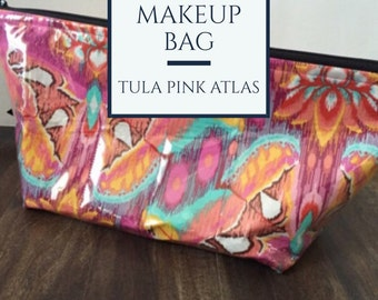 Handmade Tula Pink Moth Makeup Bag Large Makeup Bag