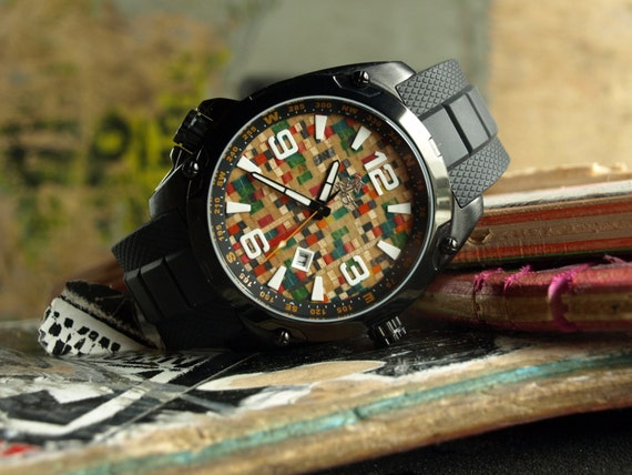 Wood Watch Skate Watch Made in Canada Recycled by SecondShot