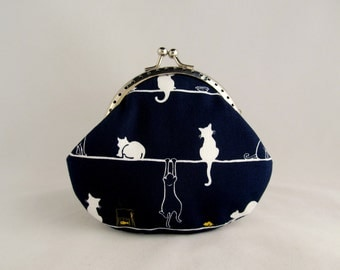 White Cats Navy Cat Purse - Cute Coin Purse - Coin Pouch - Change Purse - Kiss Lock Purse - Metal Frame Purse - Cat Lover Gift