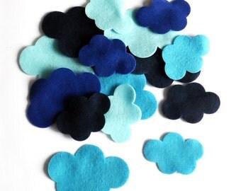 Felt cloud, 16 pieces, pre cut felt shape, blue cloud, Scrapbooking Supply, Party Supply