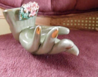 Unusual porcelain Hand Vase, Rare Color with Flowers