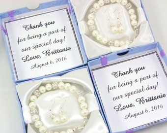 Bridesmaid Gift, bridesmaid Bracelet And Earrings set with note-card in a box, Wedding Jewelry, Bridesmaid Pearl Bracelet Earrings gifts