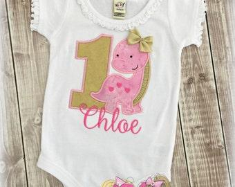 Girls Dinosaur birthday shirt - 1st birthday dinosaur shirt - gold and pink dinosaur shirt - custom embroidered birthday shirt - dino shirt