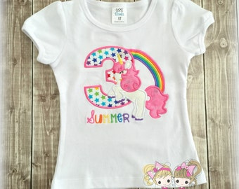 Unicorn birthday shirt - rainbow unicorn birthday shirt - unicorn and rainbow theme - custom birthday shirt for girls - unicorn themed