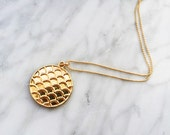 Fish Scale Pendant, 14k Gold filled chain necklace-gold circle pendant necklace,simple gold necklace,pendant necklace,layering jewelry, gift