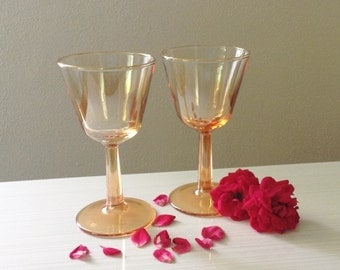 Vintage Marigold Lusterware Wine Glasses - Bride and Groom Toasting Two Gold Wine Vintage Wedding Champange Retro  Honeymoon Romantic