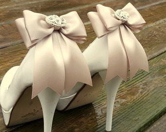 Wedding Shoe Clips,Bridal Shoe Clips,  Rhinestone Shoe Clips,Iced Coffee MANY COLORS, Bow Shoe Clips, Clips for Wedding Shoes, Bridal Shoes