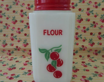"Vintage Flour Shaker With Cherries -- Range Size 4 1/2"" -- Tipp City -- 1940's"