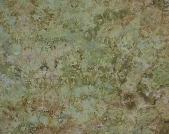 Hand Dyed  Fabric, Ice Dyed Quilt Cotton, Green Earth, 1 Yard (LS) #126