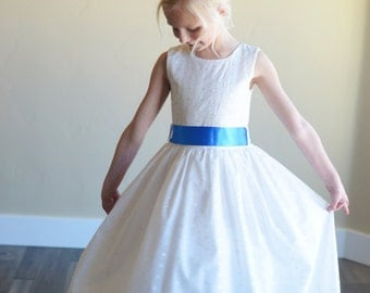 Embroidery Anglaise flower girl dress in white or ivory with ribbon sash in any colour