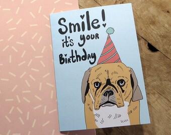 Pugalier dog birthday card - puggle birthday card - pug mutt birthday card - funny dog in hat birthday card