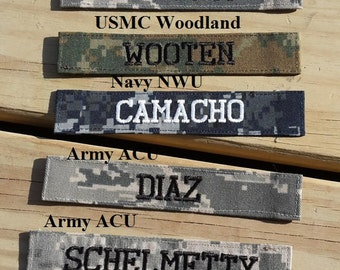 Military Name Tape or Name Patch, Army ACU or Ocp, Air Force ABU, Navy NWU, Marine Woodland, Marine Marpat or MultiCam, Custom Name Tapes