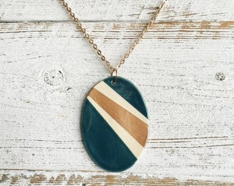 Ceramic Oval Pendant, Dark Teal, Rose Gold, Modern, Unique Gift, Minimal, Fashion, Ceramics, Unique Jewelry, Ceramic Jewelry