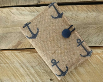 New Kindle Fire 5th Generation, Kindle Fire HD 6, Kindle Fire Case, Nexus 7 Google, Amazon Kindle Cover - Nautical,  Anchors - Burlap