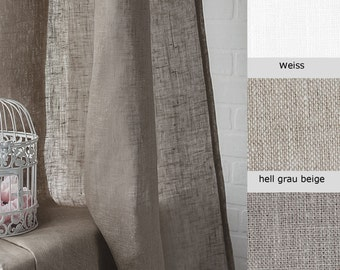 Linen curtains Lesna 3 Options (white, beige, natural)
