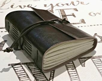 "Leather Journal - Dark Brown Journal 4.5"" x 6"" by The Orange Windmill"