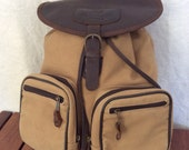 Large Vintage Genuine Canyon Outback Backpack Brown Leather and Canvas Rucksack Backpack Multiple Pockets