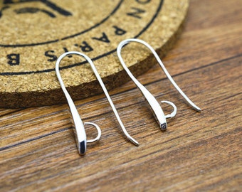 Earwires -10pcs 12x30mm Highly Polished Silver Plated Brass Earring Hooks Findings LB501-3