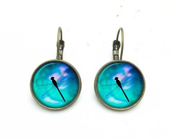 1 pair of 16mm Handmade Dragonfly Glass Cabochon French Earwire Earrings