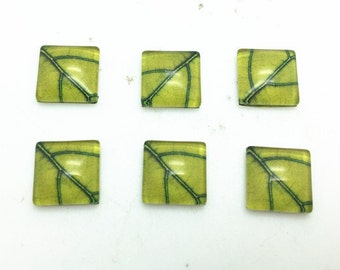 10pcs 12mm Square Photo Glass Cabochon Cover Domes - Leaf