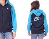 NIKE Hoodie Jacket 90s Vintage Zip Up Hooded Sweatshirt Large Logo Athletic Track Top Navy Blue 1990s Hip Hop Sport Women Men Hipster Medium