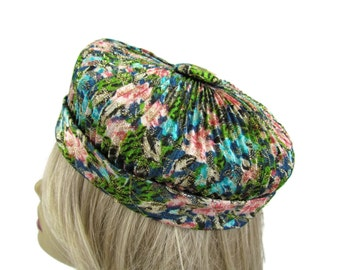 Turban Hat 1940s Colorful Women's Hat Tropical Flowers Round Pillbox Vintage Hats Church Hats For Women