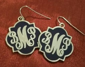Elegant Navy and Silver Monogrammed Earrings