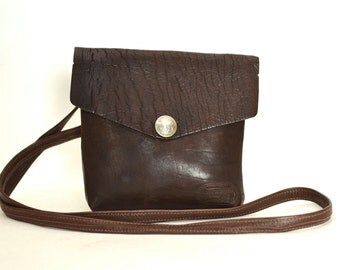 Vintage Small Simple Leather Crossbody Bag - Brown Buffalo Billfold Purse