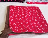 Ferret Hammock / Small Animal Bedding - Large Square - Red with White Flowers