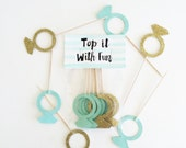 mint and gold ring toppers, mint and gold wedding, mint and gold shower, ring topper, ring party, engagement party, ring cupcake toppers