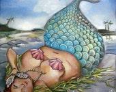 "ON SALE Mermaid bbw pin-up art on canvas funny cute bathroom art print  8""x10"""