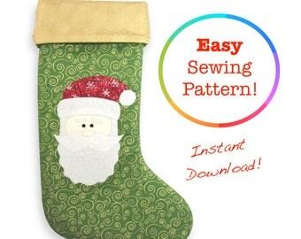 Christmas Stocking Pattern, Christmas Sewing Patterns, Santa Appliqué Pattern, Santa Pattern, PDF Sewing Patterns For Women, Santa Stocking