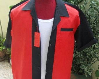 Handmade 1950's Style Mens Rockabilly, Vintage, Bowling Shirt Black & Red Shirt