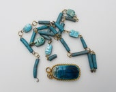 Vintage Clay Egyptian Faience Scarab Bead Necklace - Hand Carved Turquoise Glazed Clay Beads - Jewlery Findings for Repurpose