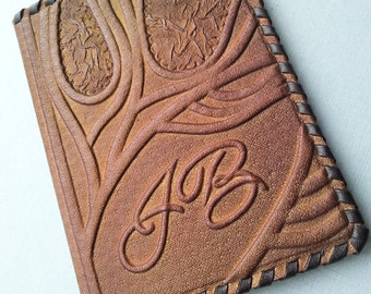 PASSPORT COVER HOLDER -  Personalized Leather Travel Gift Art Craft Handmade #11